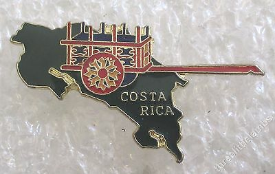 Vintage Costa Rica Painted Oxcart/Map Travel Souvenir Collector Pin