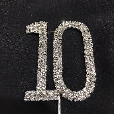 Cake Topper 10 Birthday Crystal Diamante Rhinestones 10th Number Tenth Party Tin