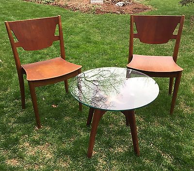 Mid Century Modern Madsens (Denmark) Chairs and Glass Top Occasional Table