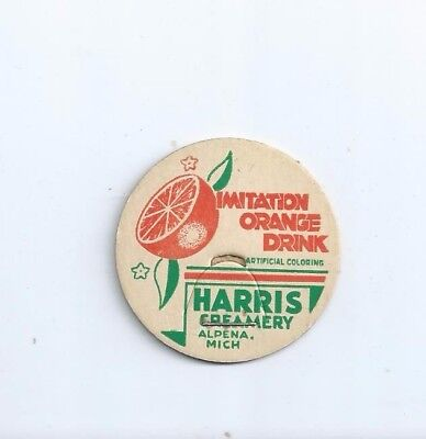 """Harris Creamery""  Alpena, Mich. milk bottle cap."