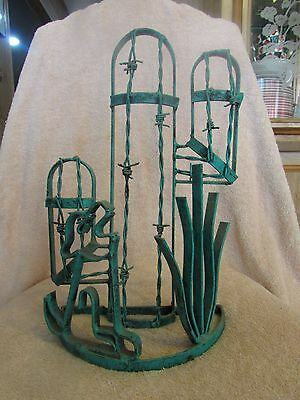 VTG Antique Garden Art Dessert Cactus Barbed Wire Garden Art Desert Scene