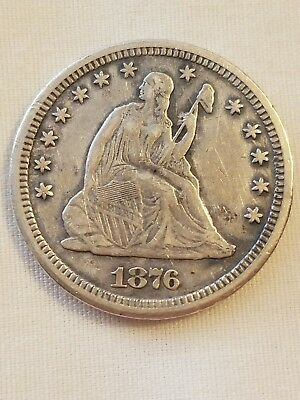 1876 Carson City Seated Liberty Quarter! Awesome Coin! Bold Strike! No Reserve