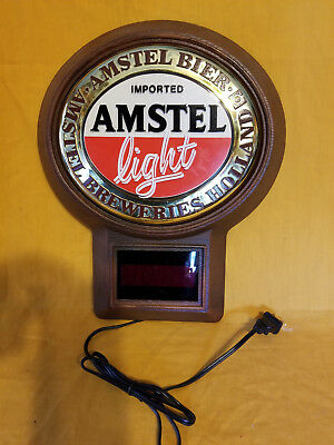 """AMSTEL LIGHT IMPORTED BEER SIGN with LED CLOCK 14"""" new condition no reserve"""