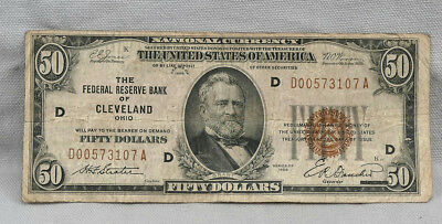 $50 1929 National Currency Federal Reserve Bank Of Cleveland Note! No Reserve!