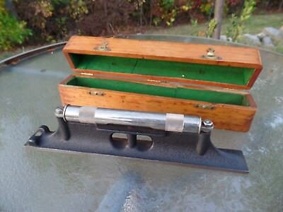 """Vintage Starrett 12"""" PRECISION LEVEL in Wood Box Excellent Machinist Tool!"""