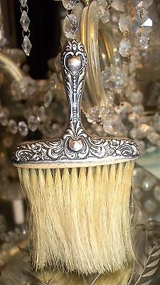 Antique Victorian Sterling & Floral Repousse Boudoir Brush Hallmark B in Diamond