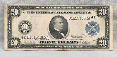1914 $20 Federal Reserve Cleveland National Currency Large Note!