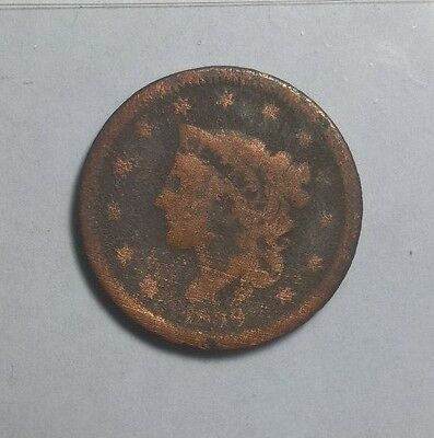 1839 LARGE CENT-AG HEAD OF 38 (free shipping)