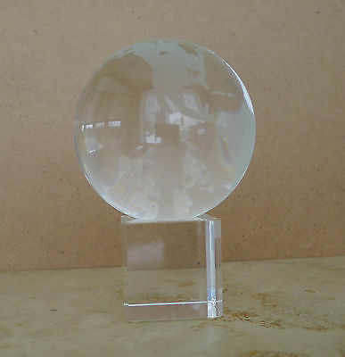 Glass Paper Weight / Trophy (Globe on a Pedestal)