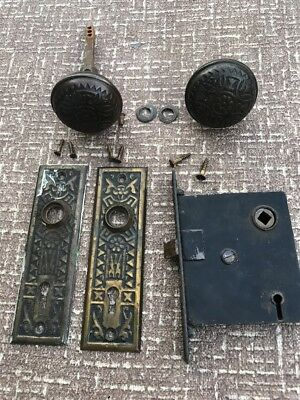 Antique Entryway Bronze Brass Door Knob Set Mortice Eastlake VICTORIAN