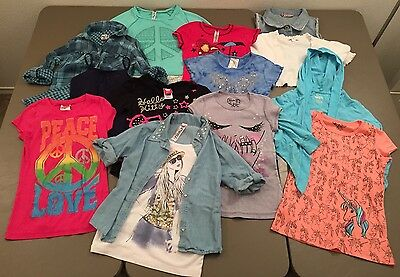 Girls 13 Piece Clothing Lot Size Medium Tops Denim Vest Short Sleeve Long Sleeve