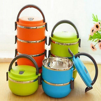 1/2/3/4 Layer Stainless Steel Insulated Bento Food Thermal Container Lunch Box