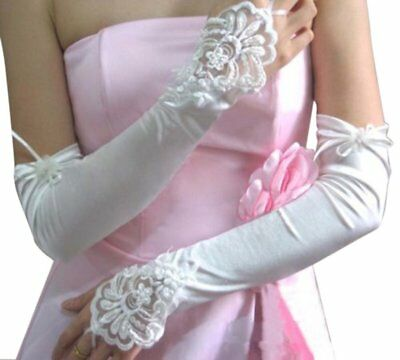 3X(White Ivory Wedding Party Fingerless Pearls Lace Formal Bridal Gloves 45 cm P