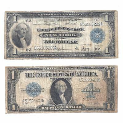 1918 $1 New York National Currency Note + 1923 Horse Blanket Silver Certificate