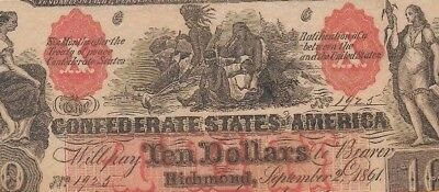 "$10 ""couterfeit""  (Confederate Note) 1800's"" $10 (Counterfeit) $10 Confederate"