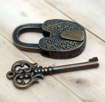 Set of Solid Brass Vintage Long Carved Floweriest Padlock with Long Skeleton Key