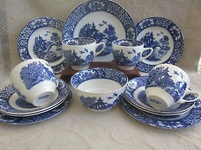 14pc SWINNERTONS Olde Alton Ware TEA SET blue white willow tree TRIO PLATE BOWL
