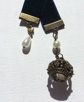 Navy Velvet Ribbon Bookmark with Crown,  Handmade in Australia,Gift