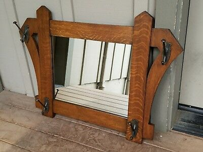 ARTS & CRAFTS OAK MIRROR w/ HOOKS Mission Stickley Era Antique 1/4 Sawn Frame