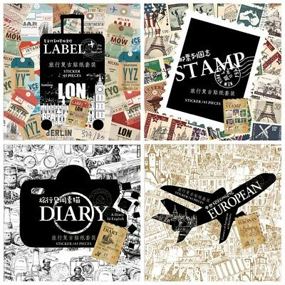 90 PCs/lot Travel style Label Stickers Decoration Scrapbooking Seal Sticker