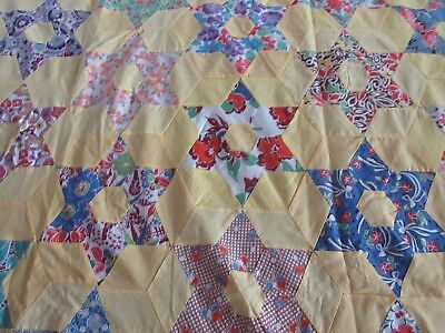 Antique Quilt top - Hand Pieced - Yellow - 6 Pointed Star - Twin Size