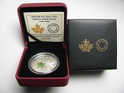 2014 Proof $20 Overlaid Majestic Maple Leaves #3 Jade Insert Canada .9999 silver