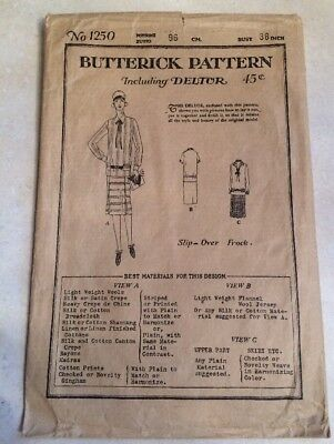 Antique Butterick Pattern Envelope and Instructions 1250 Not Complete