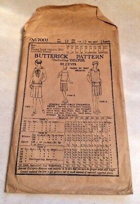 Antique 1919-1923 Butterick Pattern Including Deltor Girls Two Piece Dress 7001