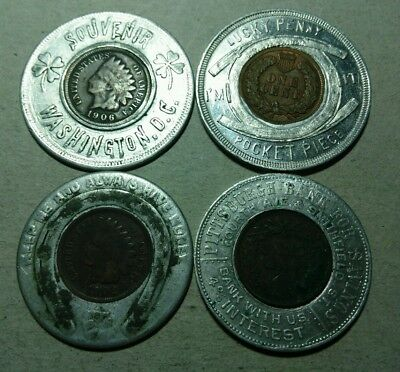 4 Old Encased Good Luck Indian Penny Tokens*****
