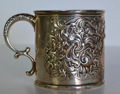 RARE EARLY Bailey Banks Biddle REPOUSSE STERLING SILVER MUG not scrap 4.8oz