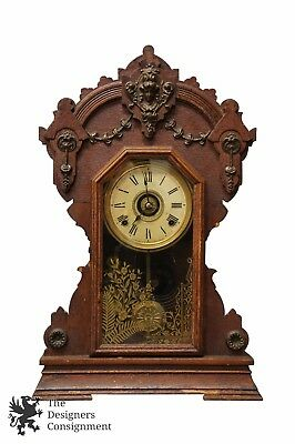 "Rare Antique Seth Thomas Co 23"" Mantel Clock 8 Day Chimes Figural Brass Accents"
