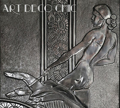 RARE 20s Sensual Art Deco Bronze Plaque of a Nude Jazz Baby & Lithe Whippets
