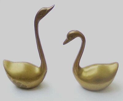 BRASS(Solid)SWAN PAIR/Small Figure Lot Vtg 1950s-1960s Bird Figurine/Metal Decor