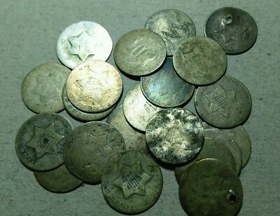21 Total Undated Silver Three Cents*****