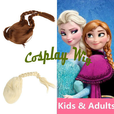 Princess Elsa Anna Snow Queen Frozen Blonde Weaving Braid Cosplay Wig FancyDress