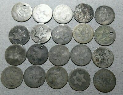 20 Total Dated Silver Three Cents*****