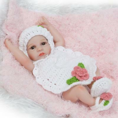 Soft Reborn Baby Doll Girl Bath Shower Toy Silicone Body 10inch Waterproof G0D3