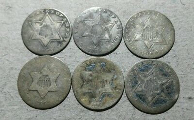6 Excellent Silver Three Cents*****