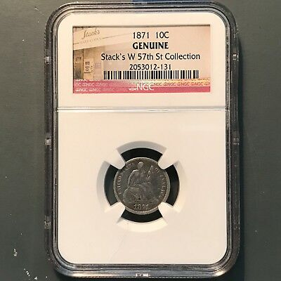 1871 10C Liberty Seated Dime, NGC, Stack's W 57th St. Collection(31041)