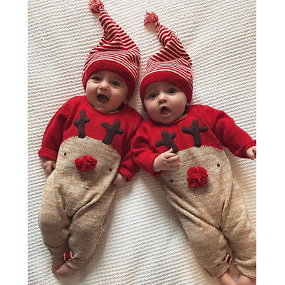 Newborn Infant Baby Boy Girls Christmas Romper Bodysuit Clothes Outfit Set + Hat