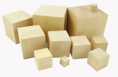 Natural Wooden Wood Cubes Blocks Craft Hardwood Square DIY Minecraft 10mm - 60mm