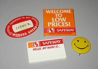Safeway Name Badge Buttons Wonder Bread Smiley Lot Vintage S2