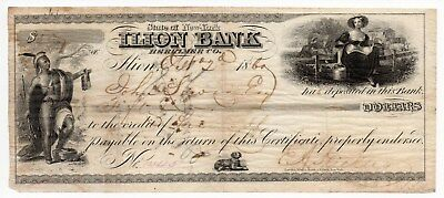 1860 Ilion Bank Certificate Of Deposit New York - Cut Cancelled - Fine - Indian