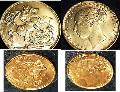 1877 Queen Victoria Gold Sovereign ,minted In Australia High Grade.gold Verified