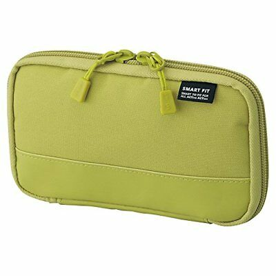 LIHIT LAB Smart Fit Actact Compact Pen Case Polyester A7687-6 Yellow Green New
