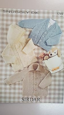 Sirdar Knitting Pattern #1749 Baby or Child's Cardigans to Knit in Snuggly DK