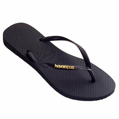 Havaianas Ladies Slim Metal Logo Thongs- Black/Gold Flip Flops