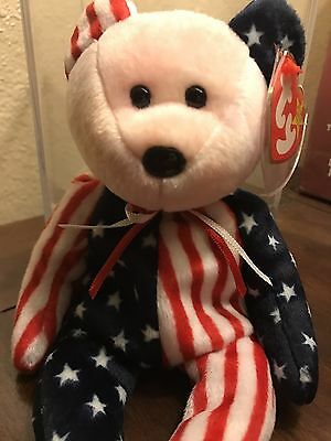 RARE TY BEANIE BABY *1999 SPANGLE PINK FACE* ERROR, AUTHENTIC, Must see