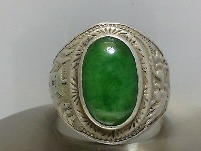 Antique Chinese Sterling Silver & Cabochon Jade-Jadeite Ring (Size 7.5)