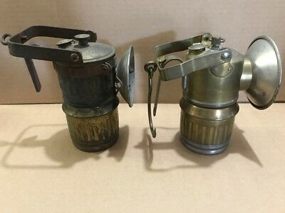 Miners mining Big Boy brass carbide hand lamps Guys dropper